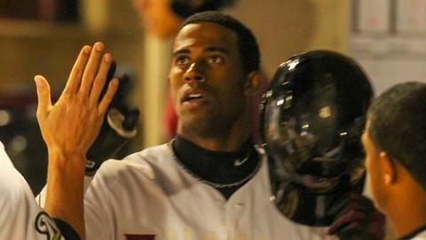 Victor Roache hit a pair of home runs at Quad Cities on August 10 to give him 20 on the season. The Timber Rattlers won 7-0.