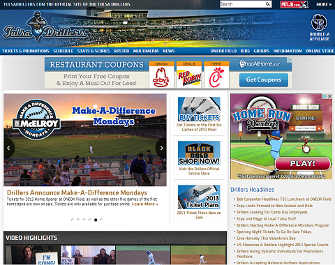 The Tulsa Drillers have a new website just in time for the 2013 season.
