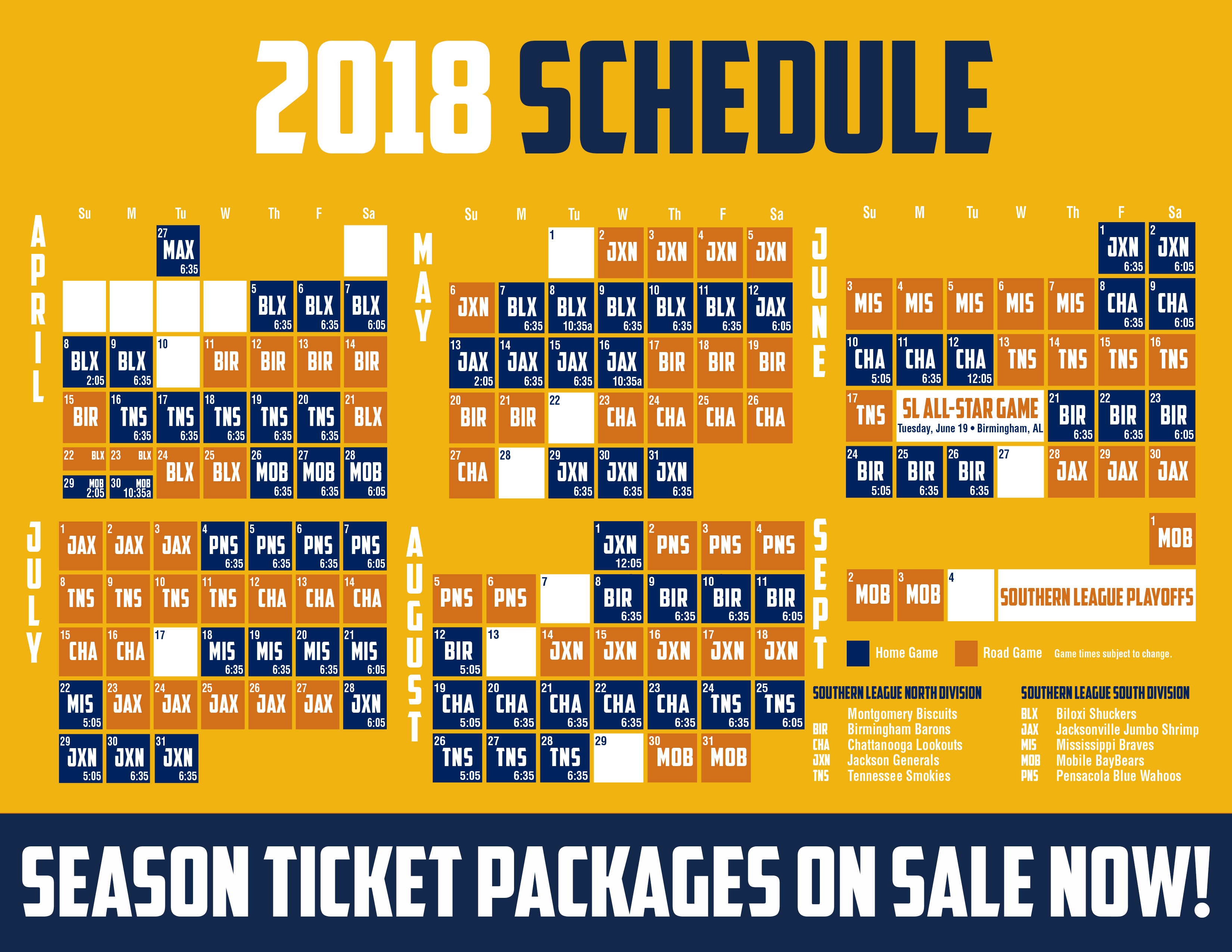 2018 Biscuits Schedule | MiLB.com Schedule | The Official ...