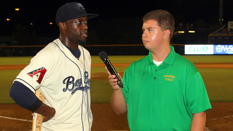 Justin Greene is interviewed after receiving his Top Star Award.
