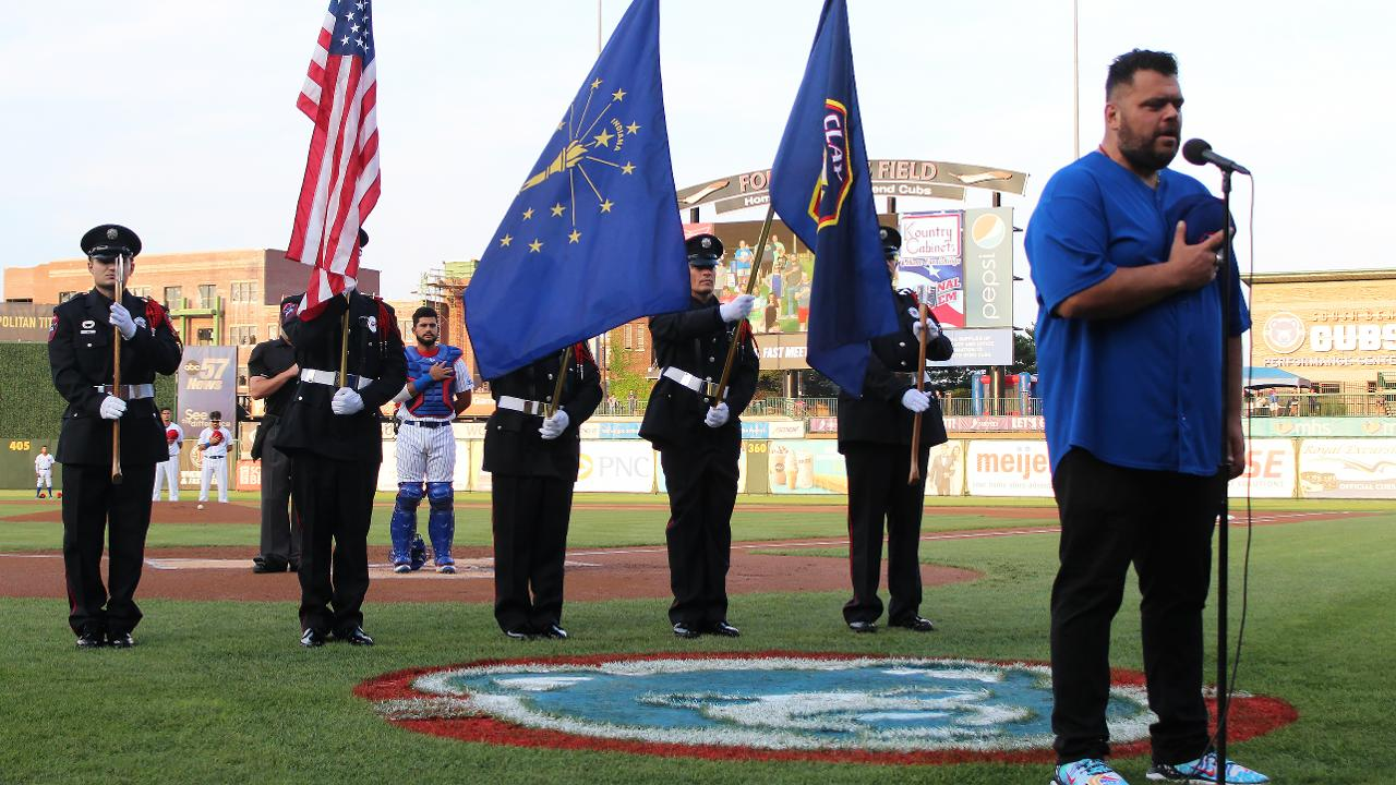 image relating to Printable Cubs W Flag identify South Bend Cubs Accepting Nationwide Anthem Auditions for 2019
