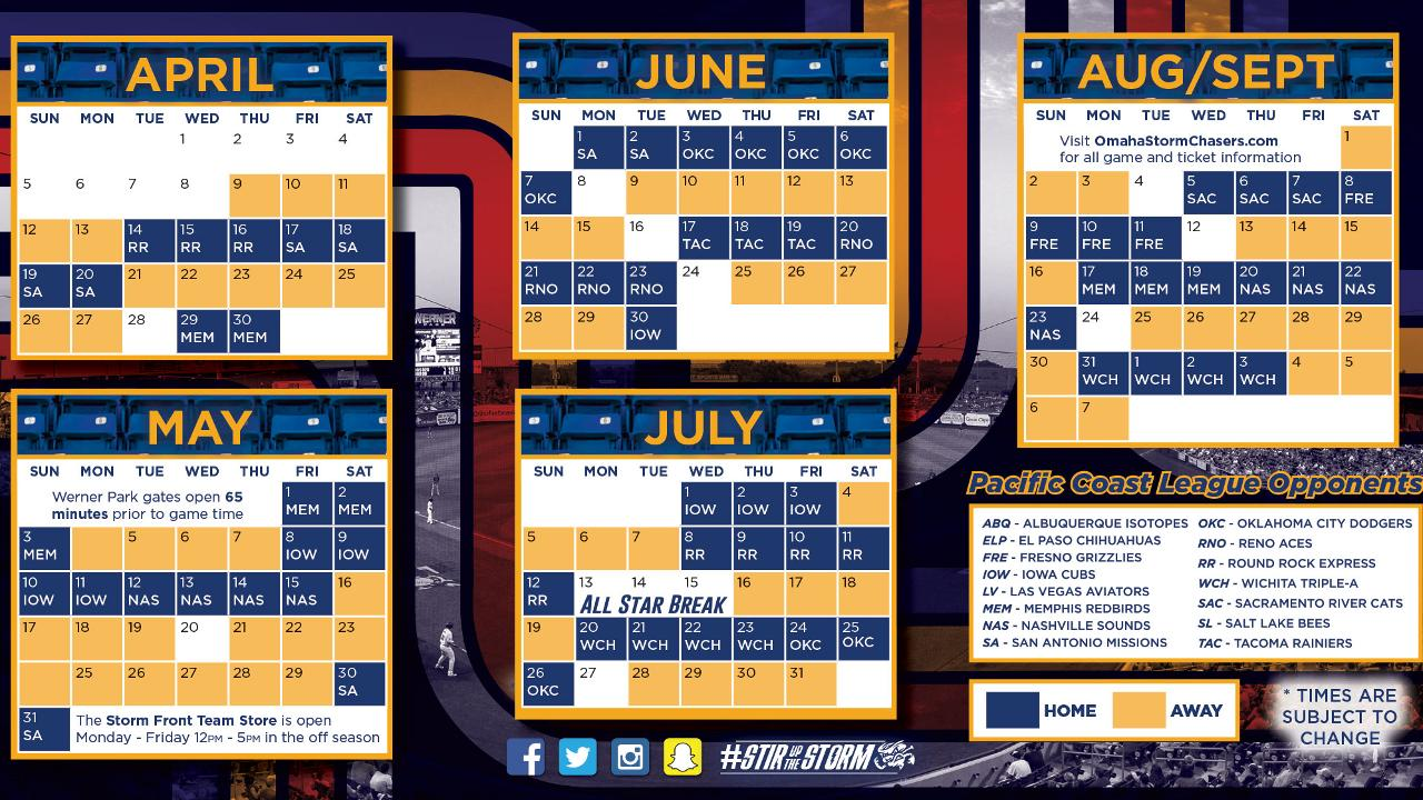 Astros Schedule 2020 Printable.Home Dates For Chasers 2020 Season Revealed Omaha Storm