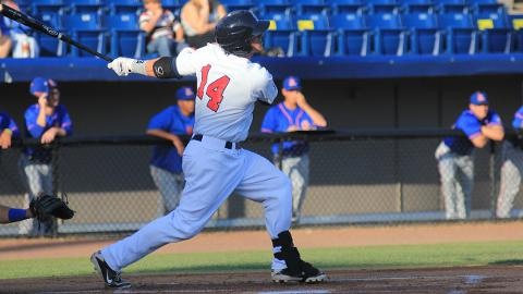 Manatees second baseman Greg Hopkins, seen here in a game from earlier this season, went 3-for-4 in Brevard County's 7-4 loss to the Daytona Cubs on Sunday evening at Jackie Robinson Ballpark in Daytona Beach.