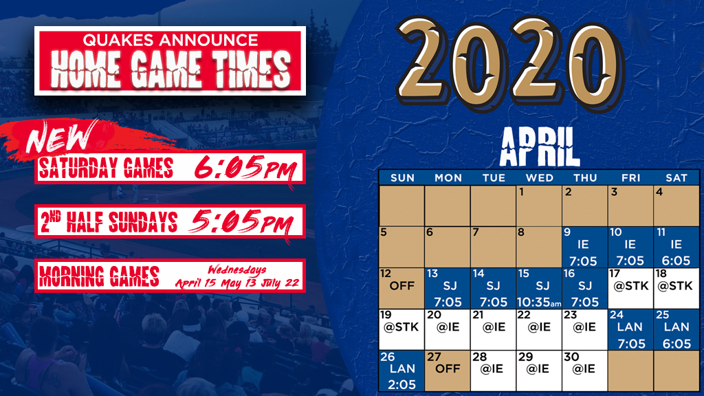 2020 Schedule with Home Game Times