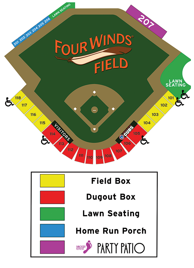 Seating Chart South Bend Cubs Four Winds Field