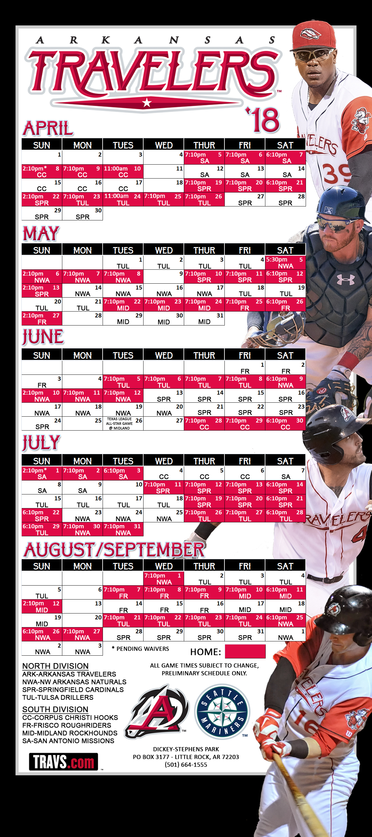 Arkansas Travelers Game-by-game Results | Arkansas Travelers