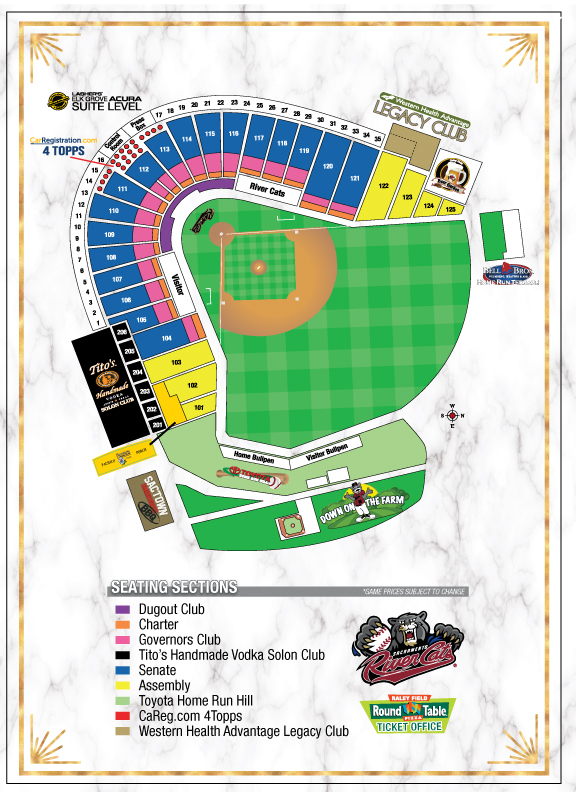 Sacramento River Cats Seating Chart Raley Field Seating