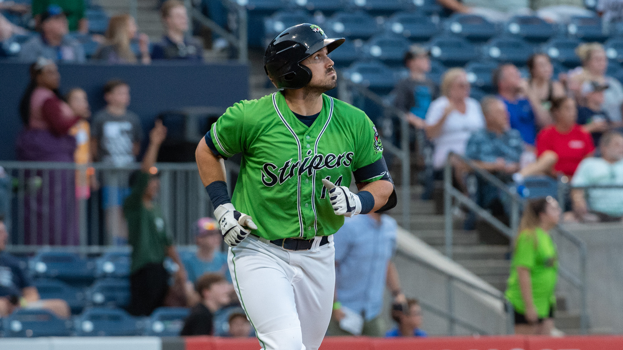 55f74eba Duvall posted two homers and six RBIs in the win. (Bernie Connelly/Gwinnett  Stripers)