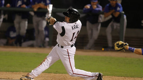 Robert Kral has collected at least two hits in seven of 24 games this season.
