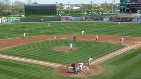 Victor Roache lines an opposite field home run to right-center in the first inning on Sunday at Dow Diamond.