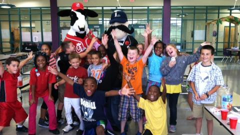 Sandersville Elementary School students celebrated their win in the 2012 Lexington Legends/Chick-fil-A Hit the Books Reading Program with a chicken nuggets party at the school. Sandersville won the competition again this year. (Photo: Lexington Legends - Sarah Bosso)