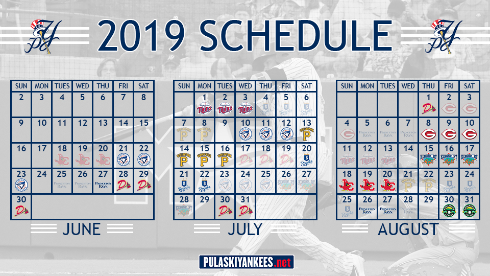 picture about Yankees Printable Schedule known as Pulaski Yankees launch 2019 routine Pulaski Yankees Information