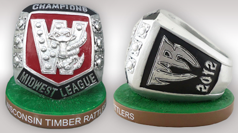 This 3-inch replica 2012 MWL Championship ring with base is available to you if you are a 2013 Timber Rattlers ticket package holder.