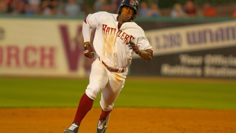 Victor Roache went 3-for-4 with a triple, an RBI, a run, and a walk in the Rattlers 6-3 win over the Fort Wayne TinCaps on July 11, 2013.