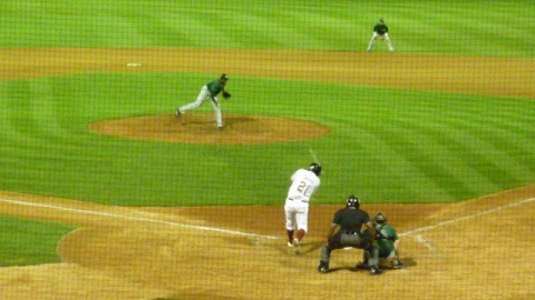 Mike Garza doubles in the bottom of the ninth inning on Thursday, July 25.