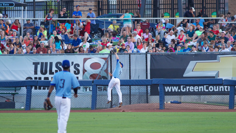 Tyler Kuhn made a great catch in front of the fence in the fourth inning of Wednesday night's game, but the Drillers fell to San Antonio 4-0 before a sellout crowd at ONEOK Field.