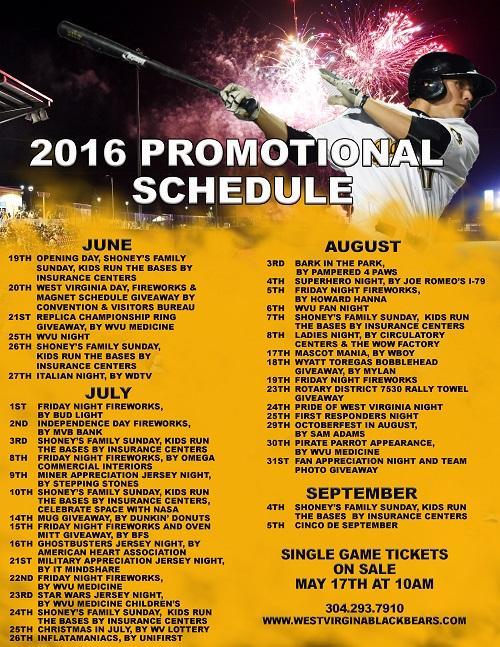 Black Bears 2016 Promotional Schedule | MiLB.com Content | The ...