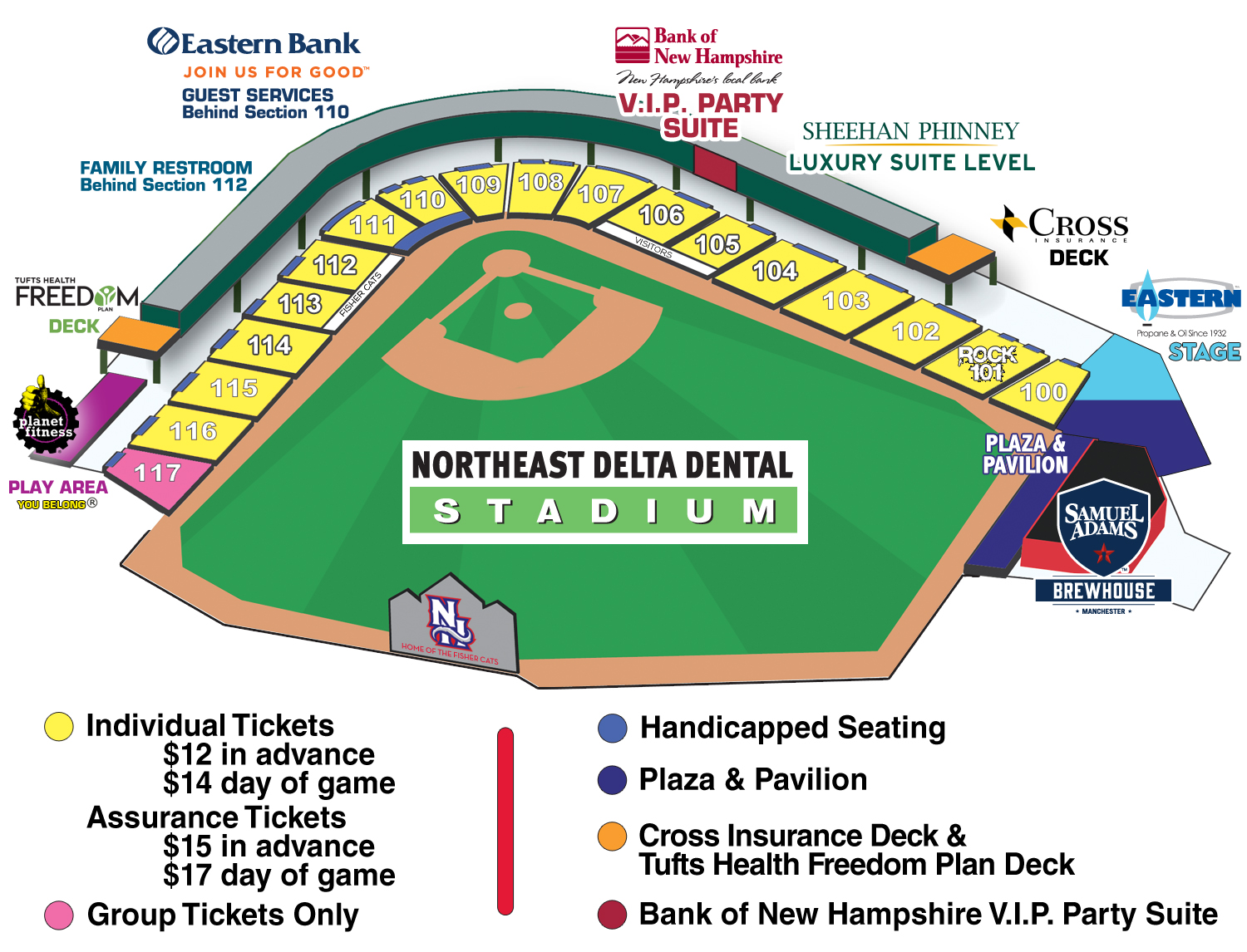 Fisher Cats Seating Chart