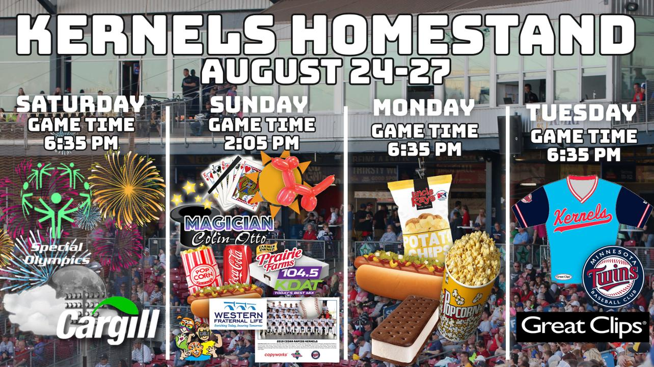 Kernels Homestand Preview: August 24-30