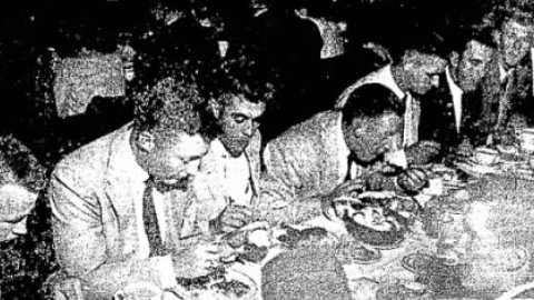 Members of the 1958 Fox Cities Foxes dig in at the Welcome Home Banquet.