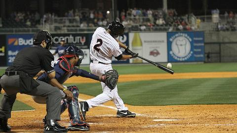 Marcus Semien, shown here hitting the first Barons' home run at Regions Field, was named the 2013 Southern League MVP.