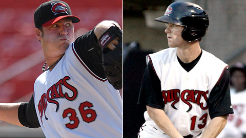 Cody Anderson (left) and Joey Wendle both starred for the Carolina Mudcats last season.