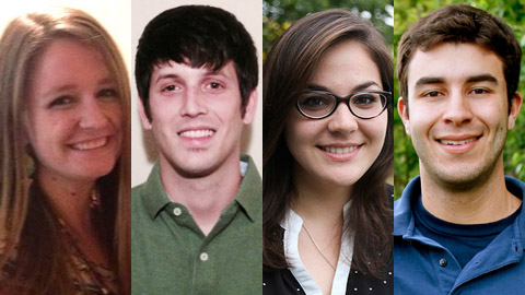Look out for journals from Kasey Decker, Ian Fontenot, Meredith Perri and Alex Reiner (left to right).