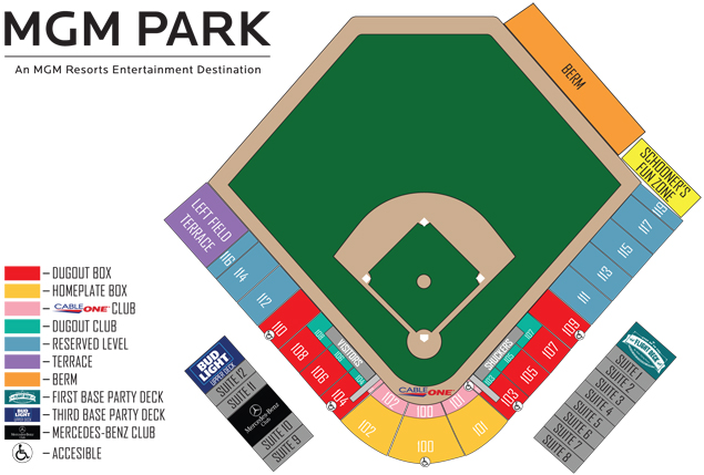 Mgm park seating chart biloxi shuckers tickets for Mercedes benz stadium box office hours
