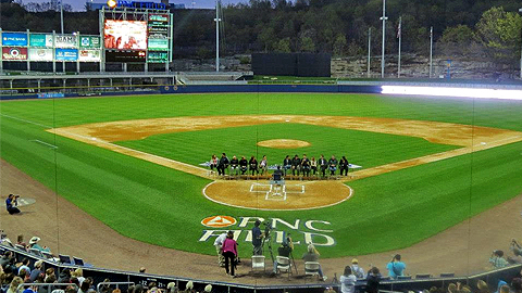 The cast of 'The Office' talk to a packed PNC Field in the fictional show's hometown,