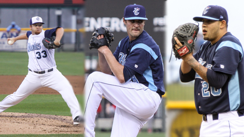 Jake Buchanan, Nick Tropeano and Ruben Alaniz are three of the eight starting pitchers in Corpus Christi's tandem rotation.