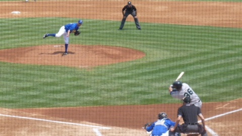 Marco Estrada faces Dalton Hicks in the first inning on Sunday, June 23, 2013