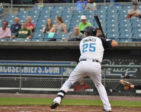 Micah Owings hit two home runs in the Chiefs doubleheader split on Wednesday.