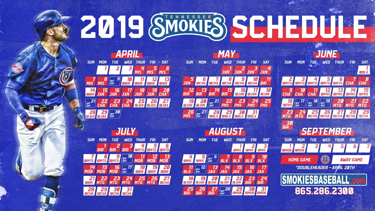 image relating to Chicago Cubs Schedule Printable named SMOKIES ANNOUNCE 2019 Plan Tennessee Smokies Information