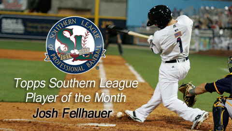 Josh Fellhauer was named the Southern League's Player of the Month for August.