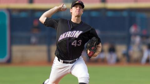 Aeros starter Will Roberts was stellar Saturday night tossing 7.1 innings, striking out four in the Akron win.