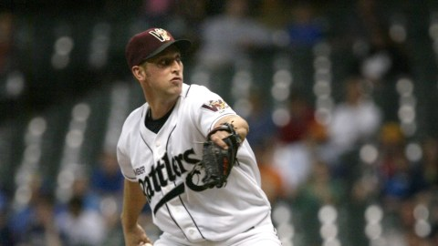 Jim Henderson on the mound at Miller Park as he closes out the Peoria Chiefs in 2009.