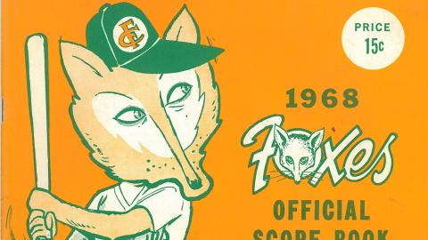 The cover of the 1968 Appleton Foxes scorebook.