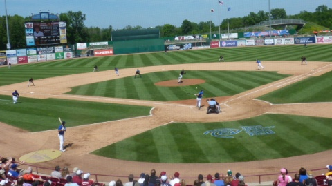 Parker Berberet's fifth inning single drove in a pair of runs to put the Timber Rattlers up 3-2.