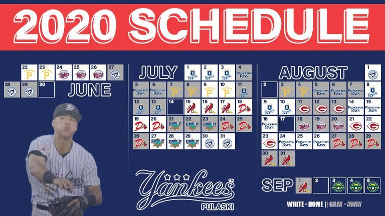 Pulaski Yankees release 2020 schedule