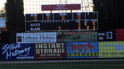 The 'haunted' scoreboard in Bakersfield always gives the Blaze seven runs in the seventh inning.