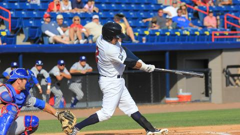 Manatees third baseman Brandon Macias, seen here in a game from earlier this season, doubled and scored the only run in Brevard County's 3-1 loss to the Daytona Cubs on Thursday night at Jackie Robinson Ballpark in Daytona Beach.