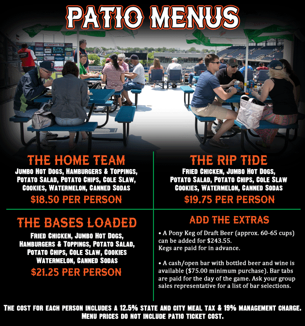 The Cost Of A Patio For 30 Is $455, With An Additional $14.00 Each For  Additional Tickets Up To 40 People. Food And Beverage Order Is An  Additional Cost.