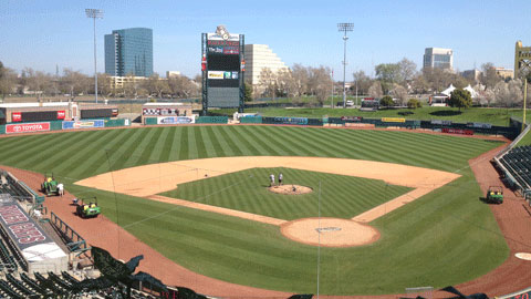 The playing surface at Sacramento's Raley Field was entirely replaced over the course of 16 days.