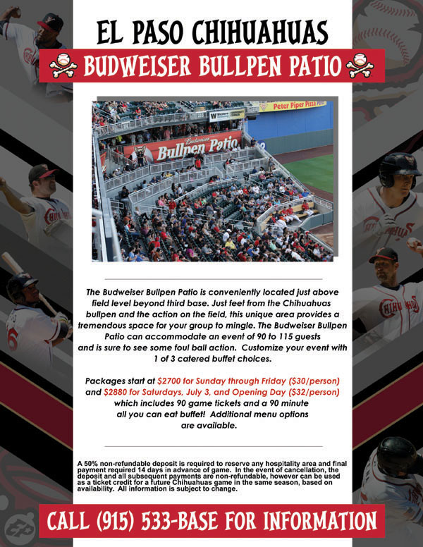 chihuahua baseball tickets the budweiser bullpen patio el paso chihuahuas tickets 894
