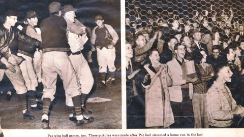 "(L) Pat Seery is mobbed by his Papermakers teammates after a ""walkoff"" homer against Sheboygan on May 15, 1941.  (R) The Goodland Field faithful celebrate."