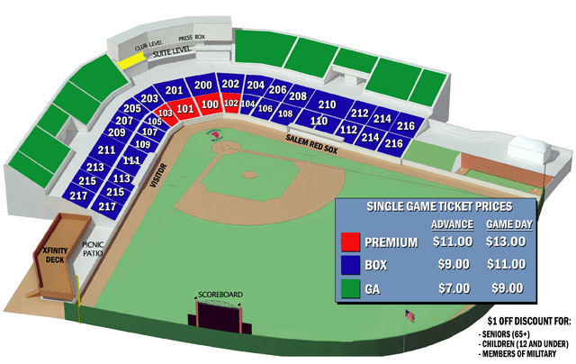 Seating Chart Salem Red Sox Lewisgale Field
