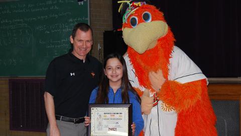 Linda Davila was honored by Shawn Schoolcraft and Sherman the Shorebird