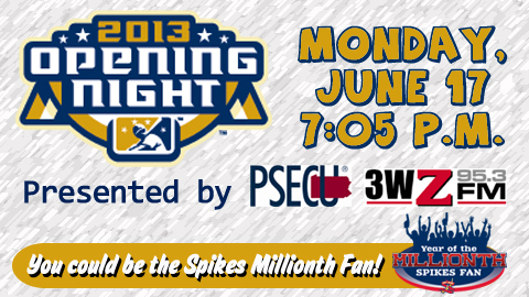 You could be the millionth fan in Spikes history by attending the June 17 Home Opener!