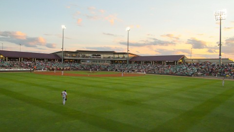 Some of the 6,698 fans to attend the game at Time Warner Cable Field at Fox Cities Stadium on August 14, 2013