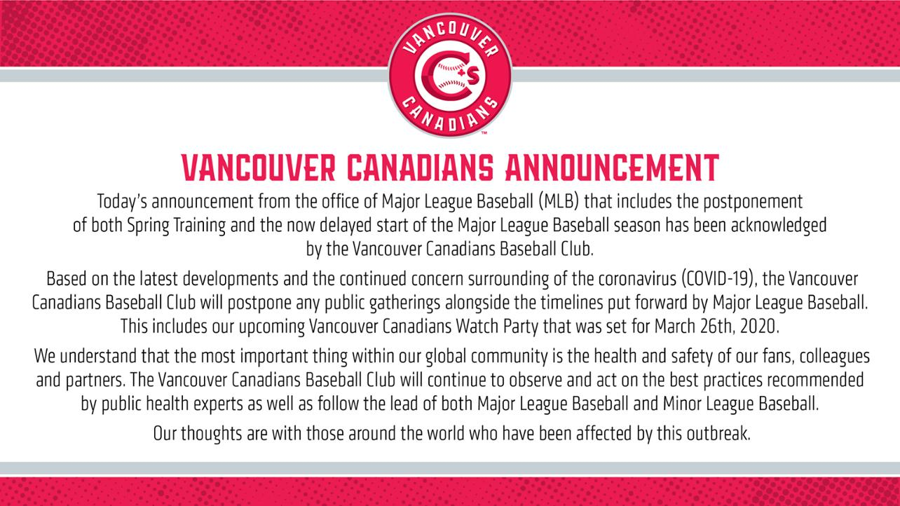 Canadians acknowledge announcements from MLB & MiLB